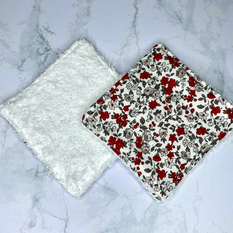 Lingettes démaquillantes lavables - Fleurs rouges