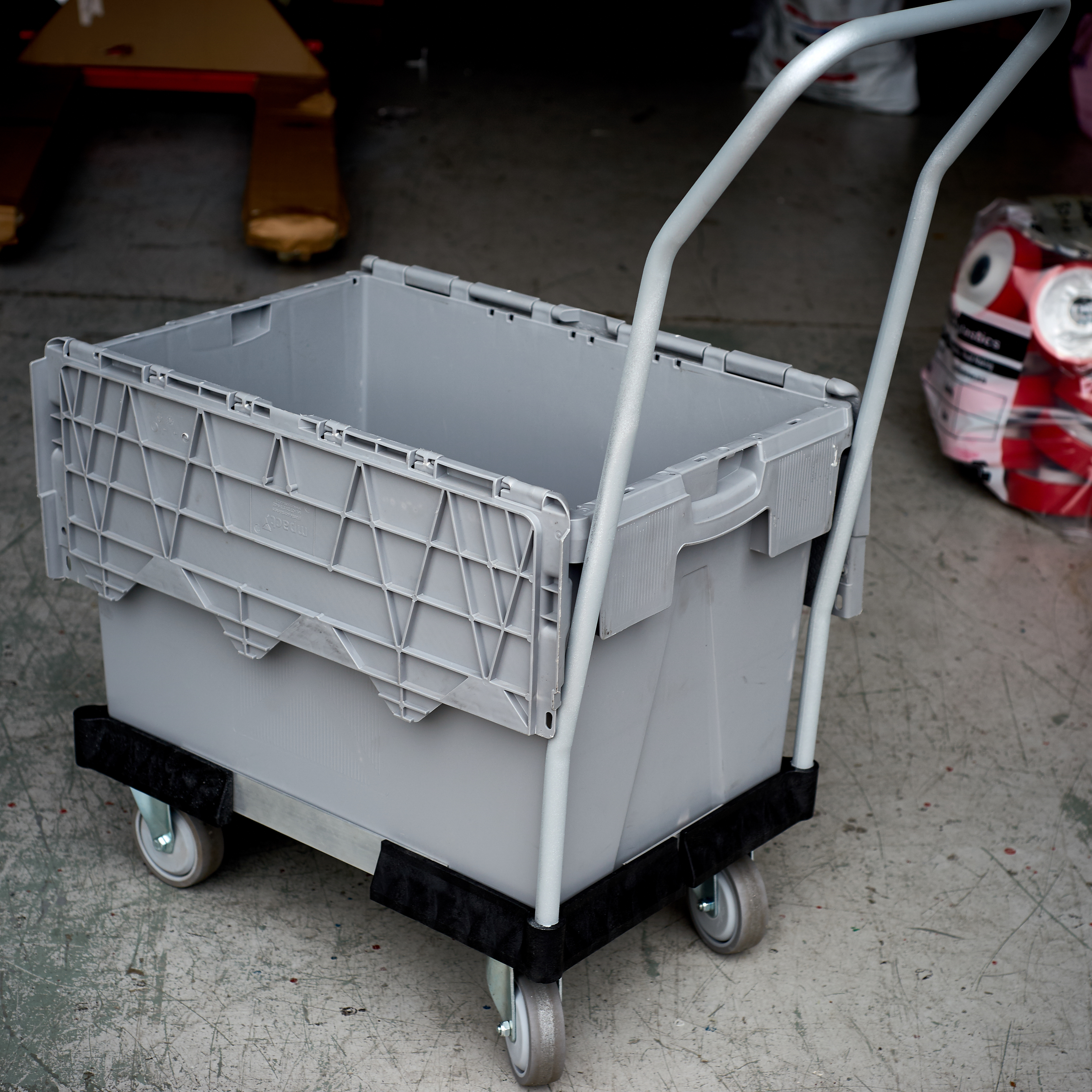 Secure crate on Dolly