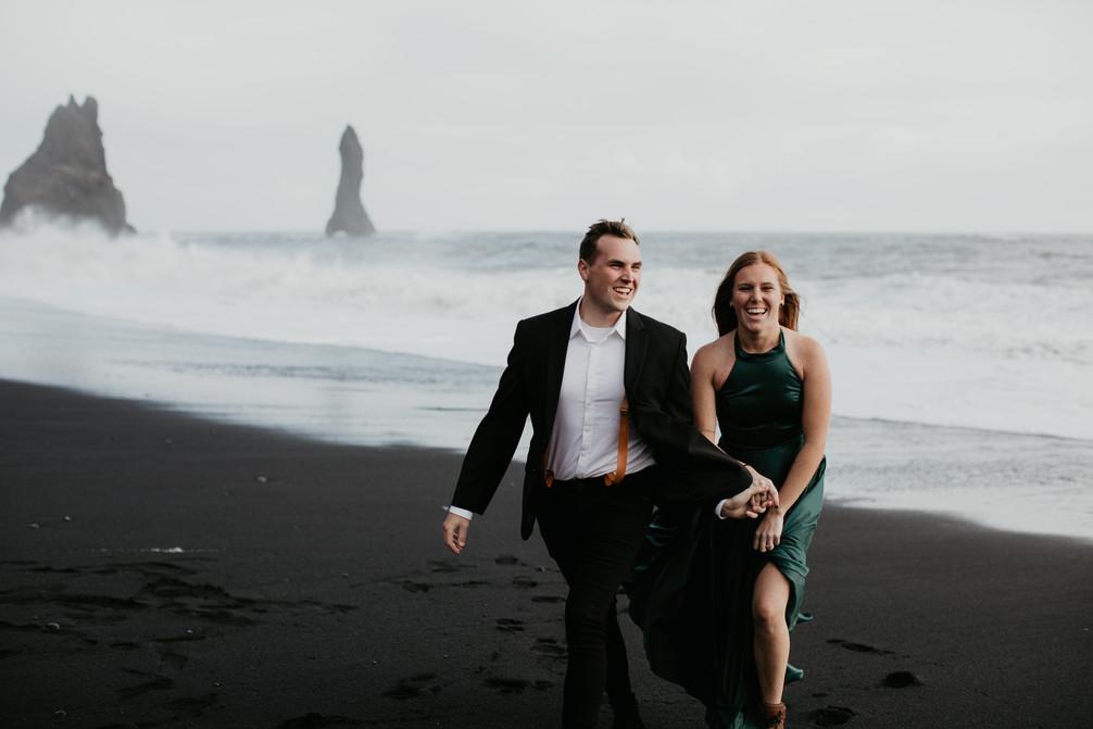 Iceland elopement anniversary adventure couple session at Reynisfjara