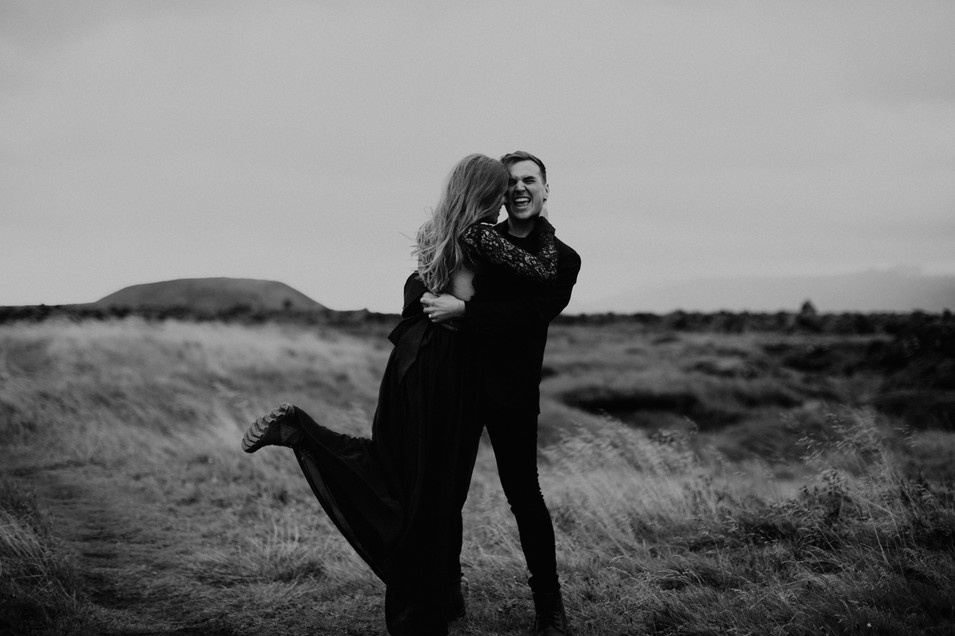 Iceland elopement anniversary adventure couple session at Budir Black Church