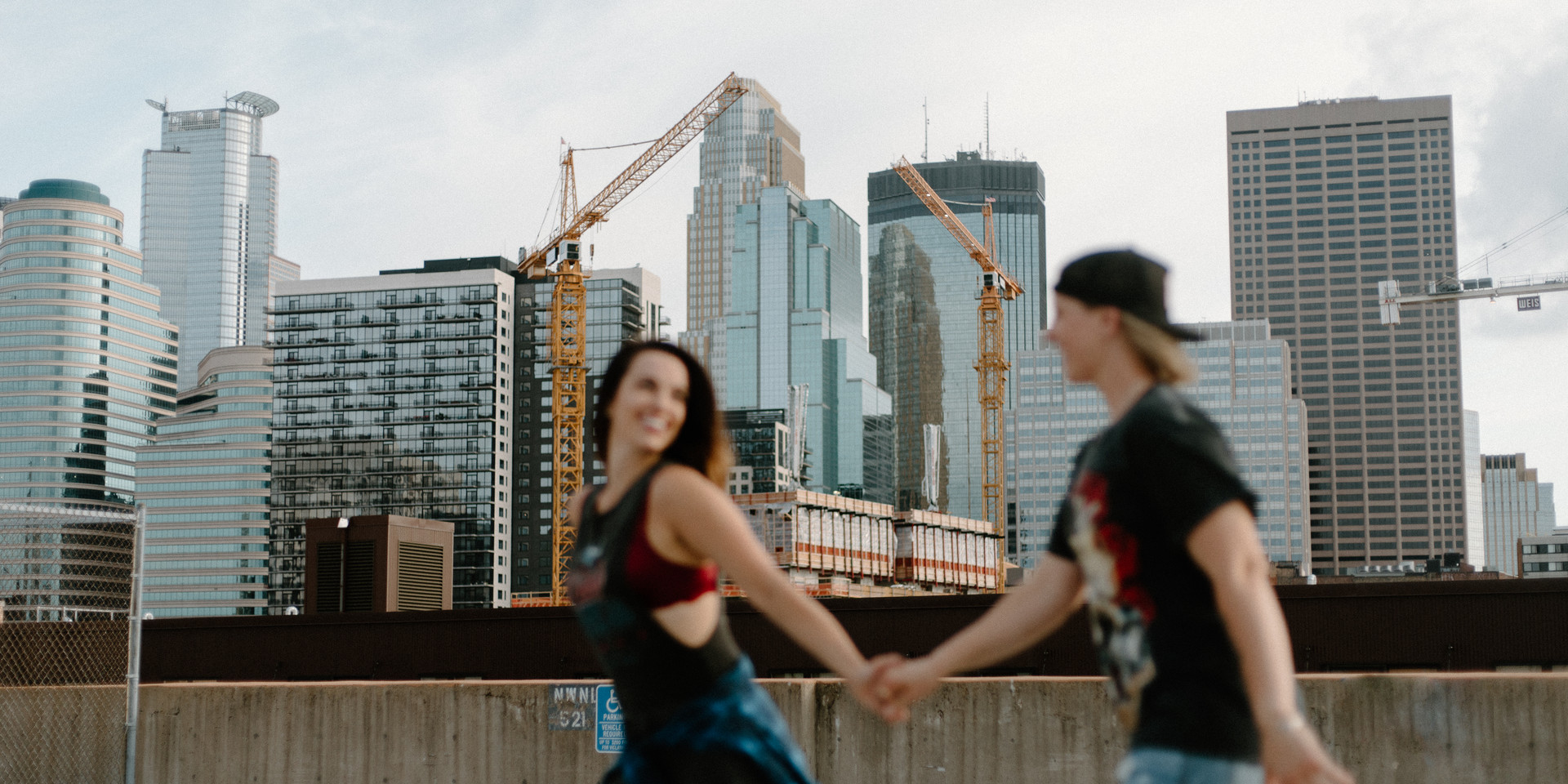 Minneapolis minnesota rooftop engagement session