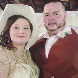 My husband and I on our own crazy and stressful wedding