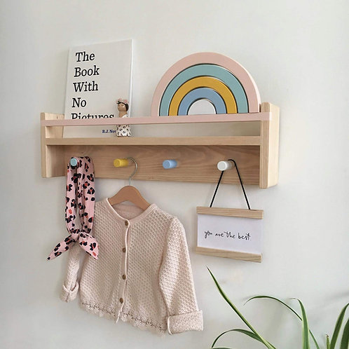 Peg Rail Bookshelf - Solid Ash Hardwood