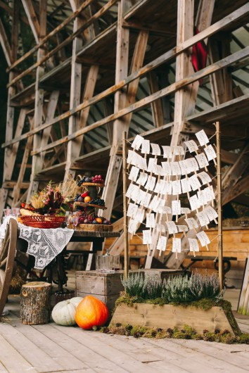Great ideas for autumn wedding decoration. Dominant wooden elements and pumpkins