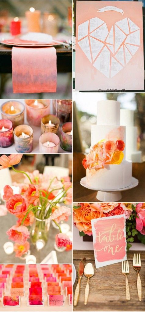 Watercolor accent weddings - photos and ideas