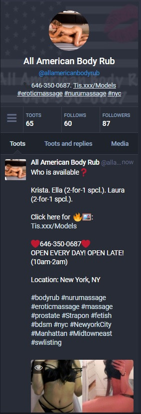 All American Body Rub's twitter profile