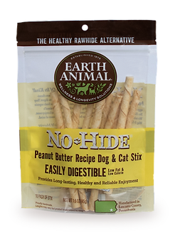 EARTH ANIMAL NO HIDE PEANUT BUTTER CHEW STIX 10PK
