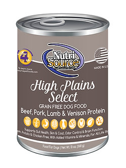 NUTRISOURCE GRAIN FREE HIGH PLAINS SELECT CAN 13OZ