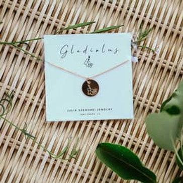 August Birth Flower Necklace - Gladiolus