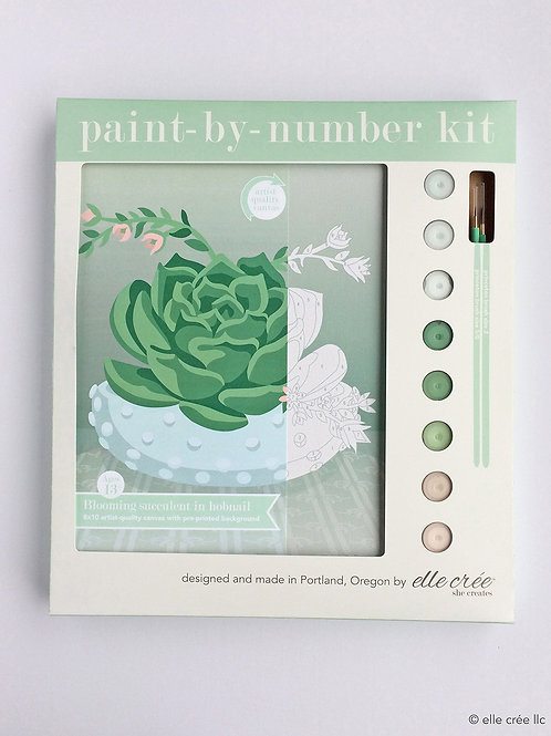 Succulent in Hobnail Bowl Paint-By-Number Kit by elle cree