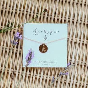 July Birth Flower Necklace - Larkspur