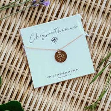 November Birth Flower Necklace - Chrysanthemum