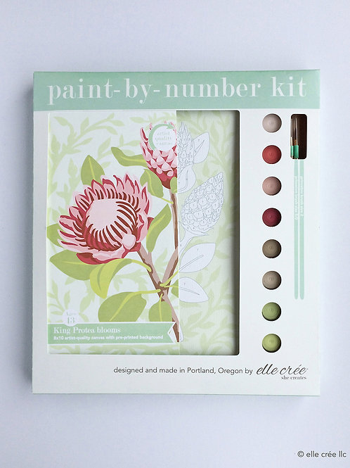 King Protea Blooms Paint-By-Number Kit by elle cree
