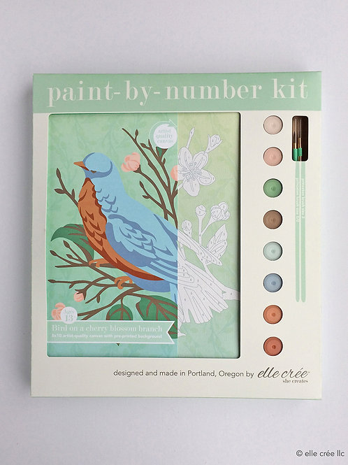 Bird on a Cherry Blossom Branch Paint-by-Number Kit by elle cree