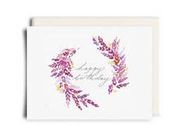 Pink Birthday Wreath Greeting Card