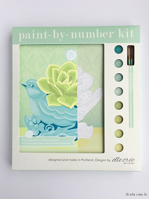 Succulent in Bird Planter Paint-by-Number Kit by elle cree