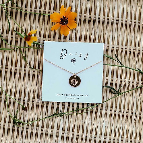 April Birth Flower Necklace-Daisy