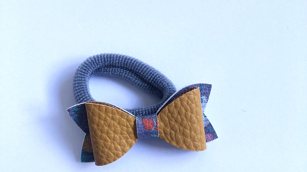 Flossy Bow - Mustard/Winter Floral - Hair Tie