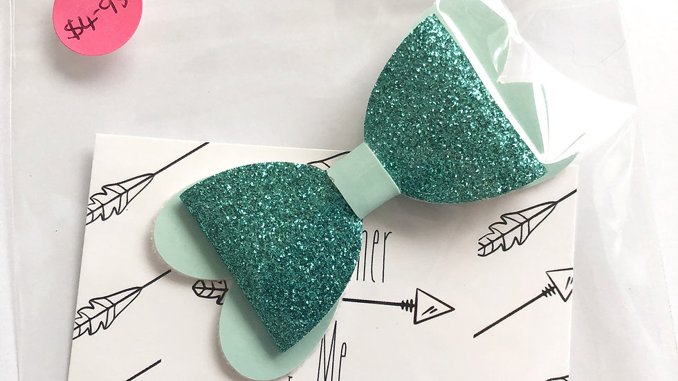 Blossom Bow - Glow Blue/Teal - Clip