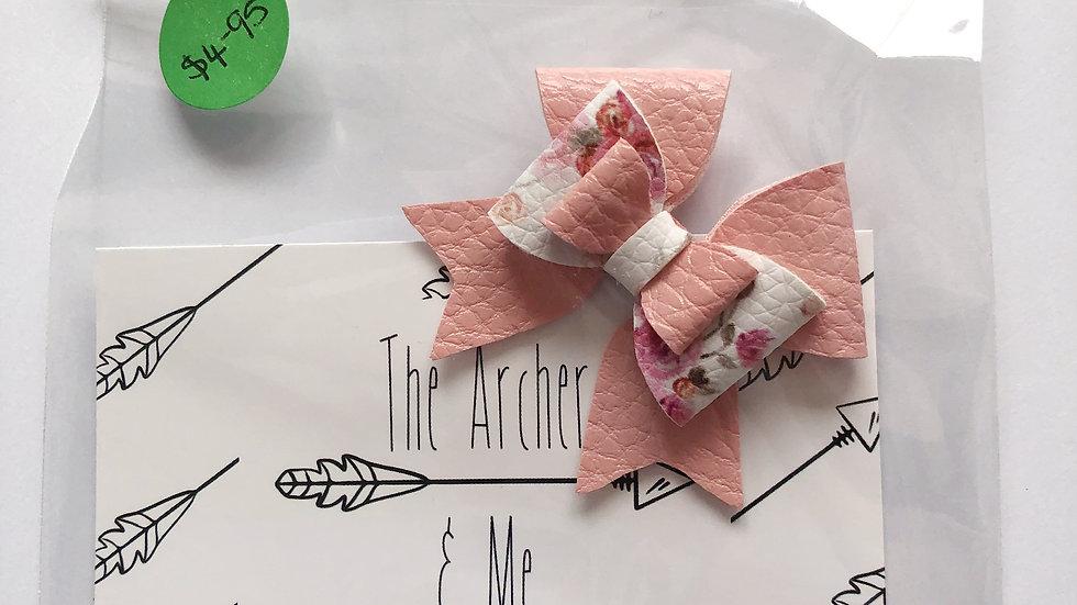 Elsie Bow - Floral/Pink - Clip