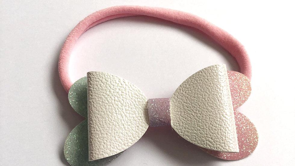 Blossom Bow - White/Rainbow - Headband