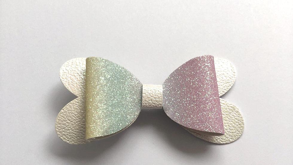 Blossom Bow - Rainbow/White - Clip