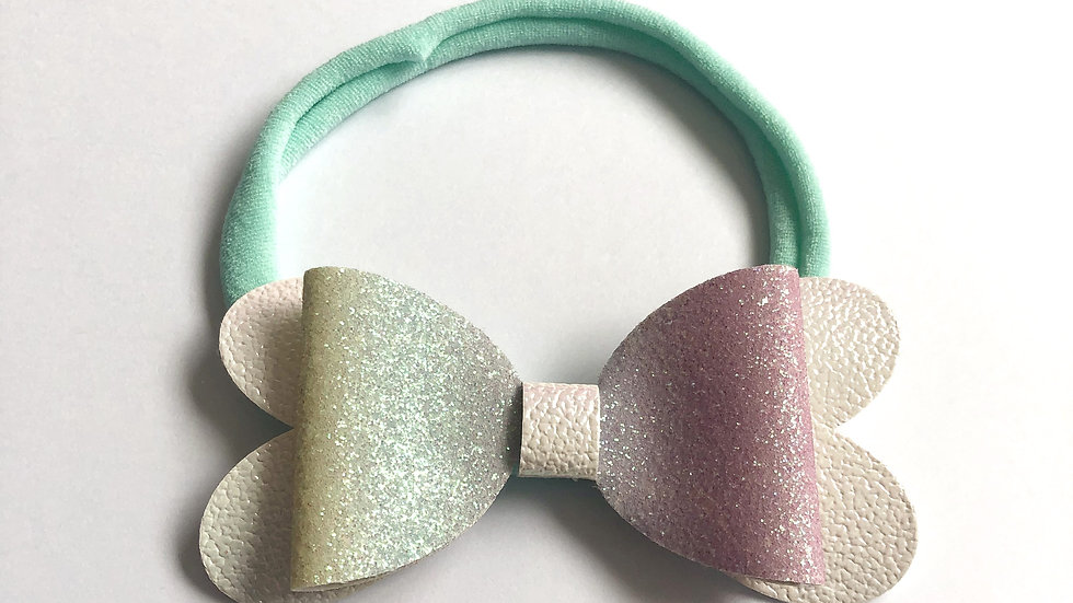 Blossom Bow - Rainbow/White - Headband