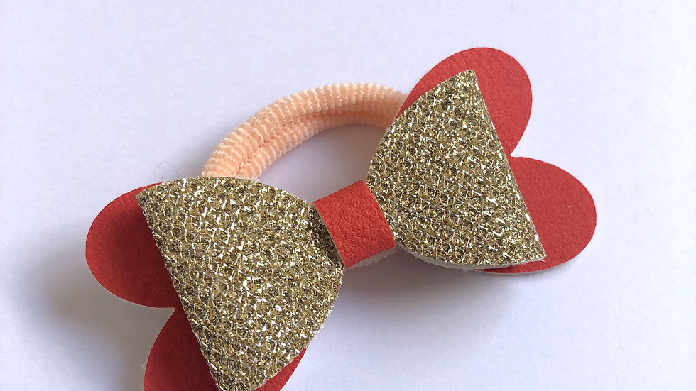 Blossom Bow - Gold/Red - Hair Tie
