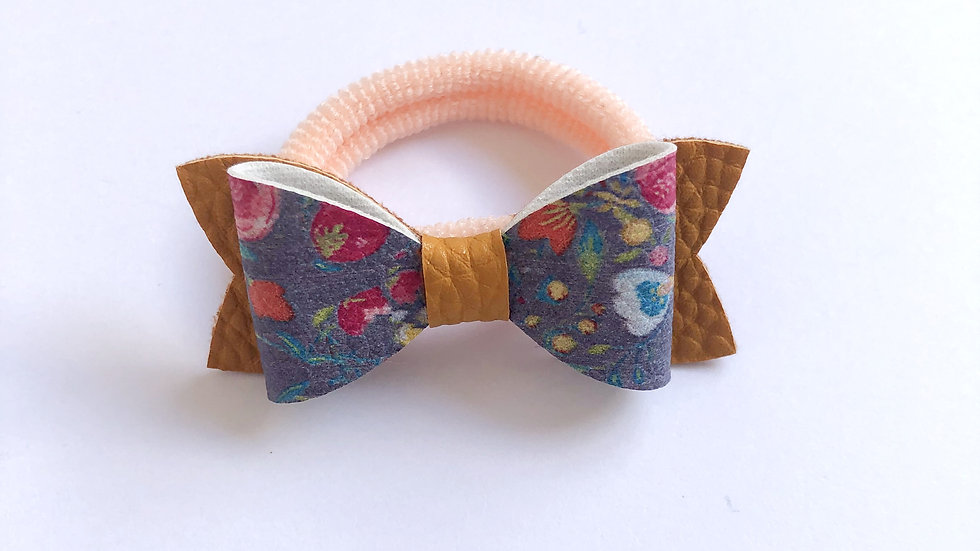 Flossy Bow - Winter Floral/Mustard -Hair Tie