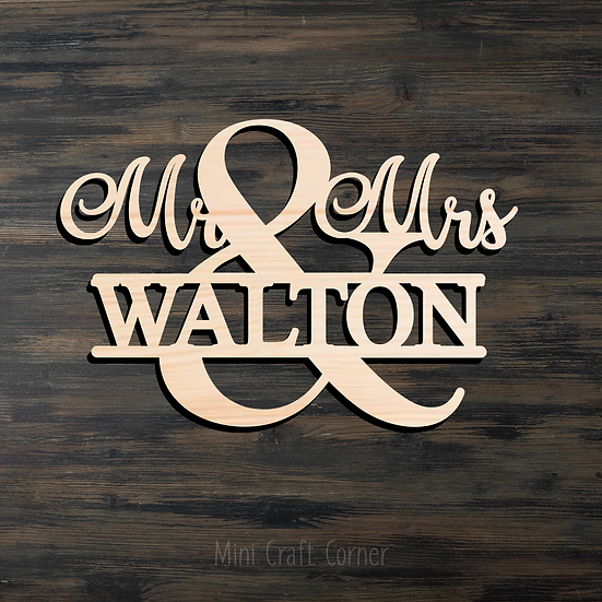 Mr. & Mrs. Personalized Wooden Cutout