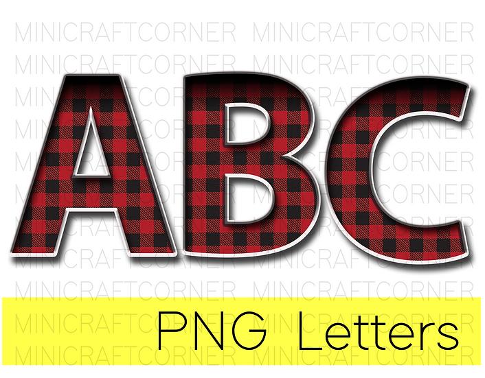 DIGITAL Buffalo Plaid Marquee Letter Files