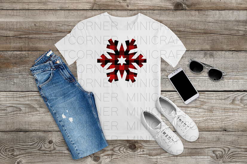 PNG - Buffalo Plaid Snowflakes set of 3
