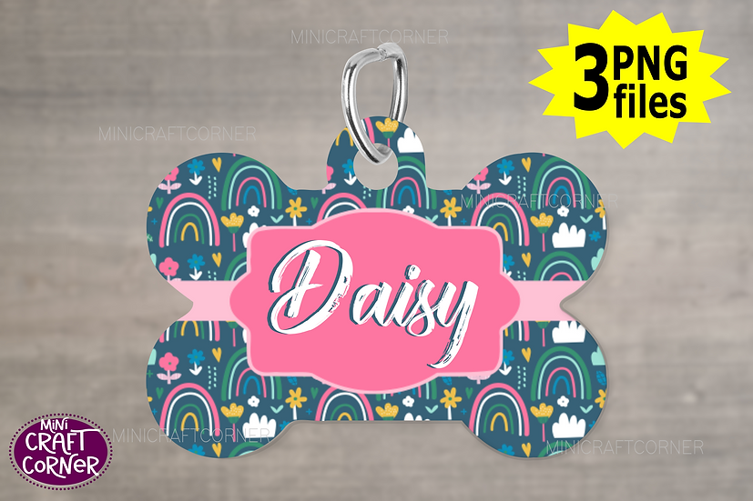 DIGITAL Pink Rainbow Dog Tag File