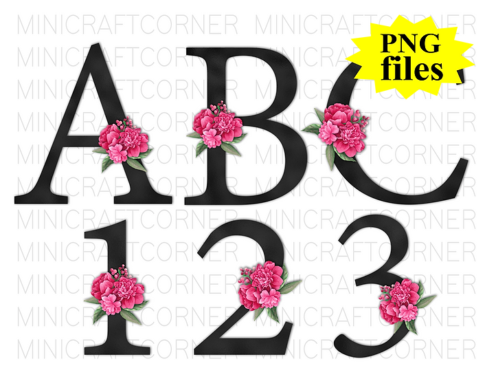 DIGITAL Black with Pink Floral Letters PNG Files
