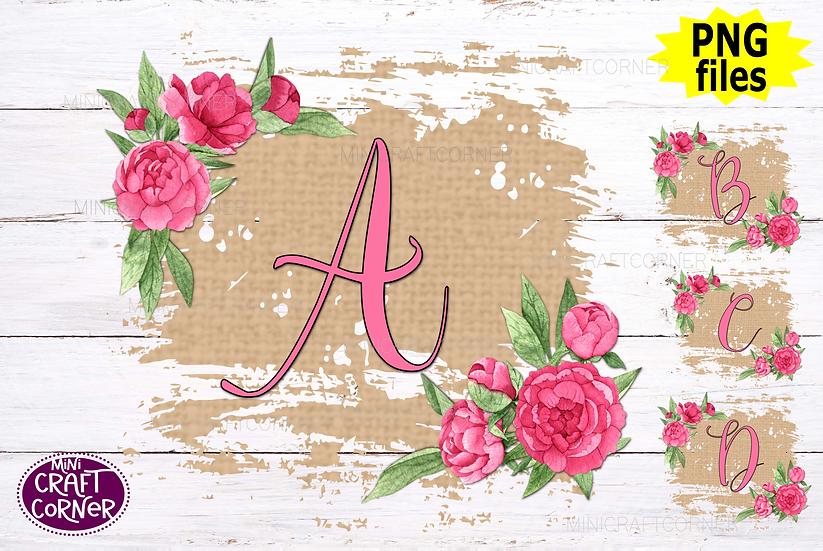 DIGITAL Floral Burlap Letters