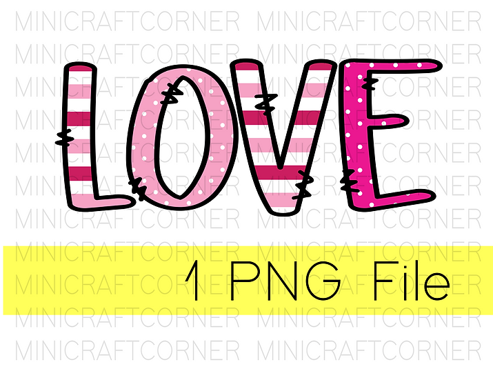 PNG -Love Striped Design File