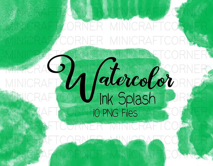 DIGITAL Green Watercolor Paint Splotch