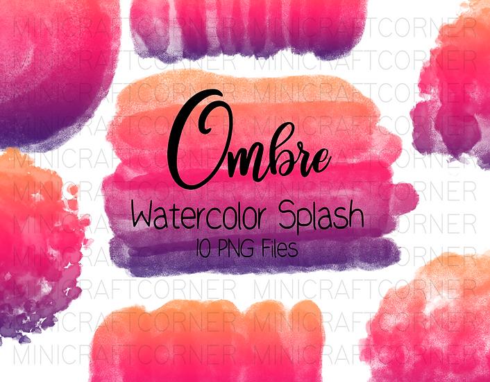 DIGITAL Ombre Watercolor Paint Splotch