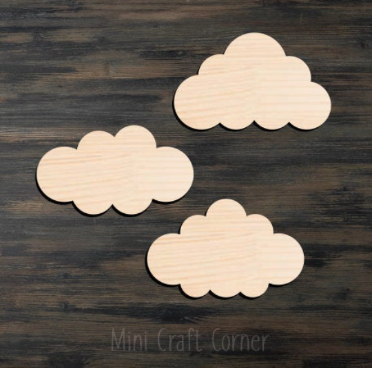 Clouds (3) Wooden Cutout