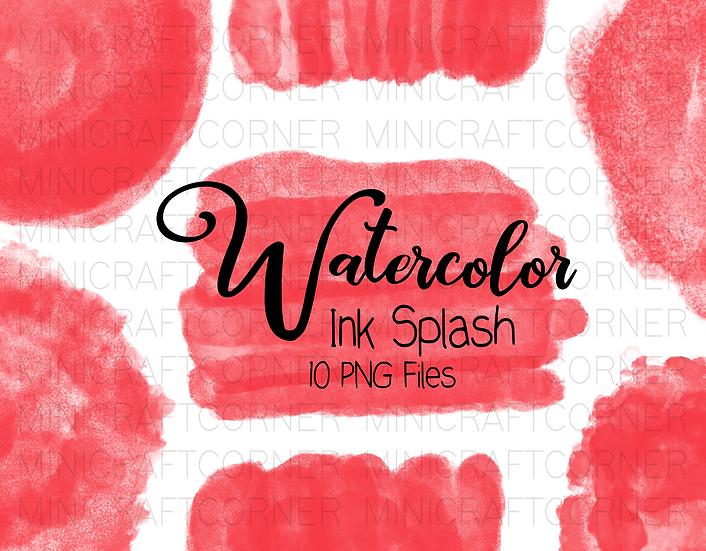 DIGITAL Red Watercolor Paint Splotch