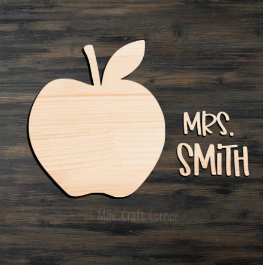 Teacher Apple Wooden Cutout