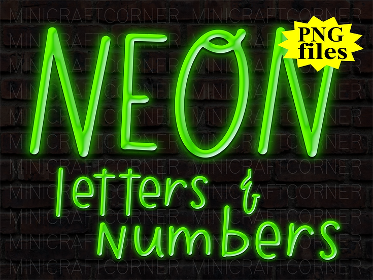 DIGITAL Neon Letters PNG Files