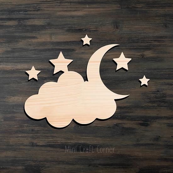 Cloud Moon & Stars Wooden Cutout