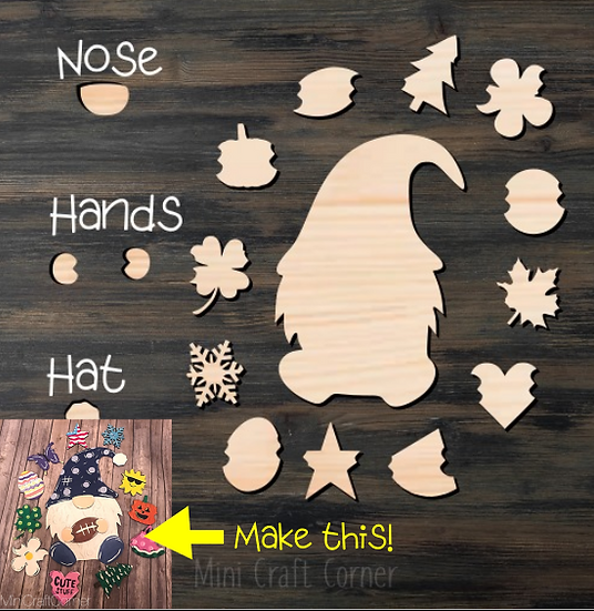 Gnome Interchangeable Wooden Cutout