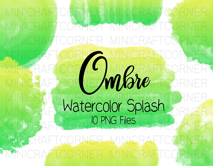 DIGITAL Green and Yellow Ombre Watercolor Paint Splotch