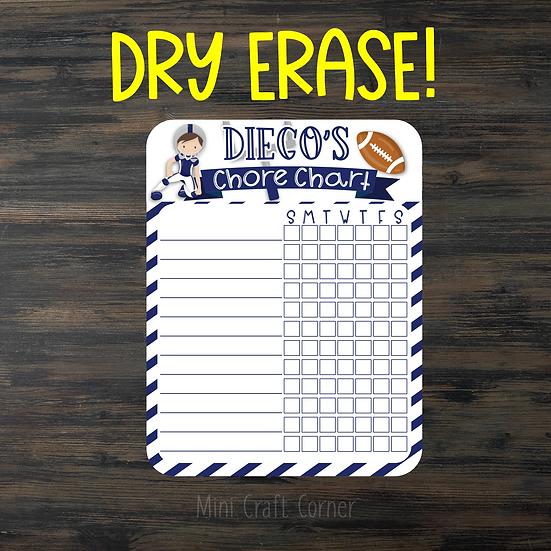 TESTER -Football Dry Erase Chore Chart