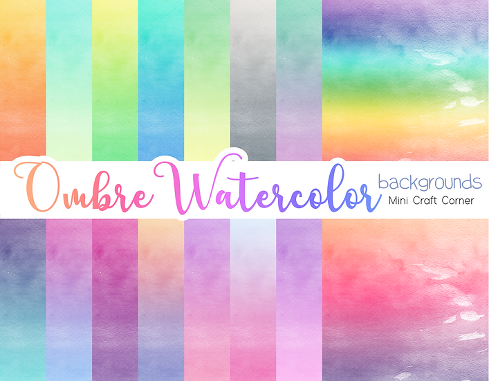 DIGITAL Ombre Watercolor Papers