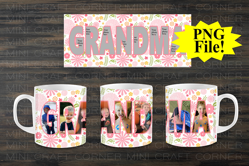 DIGITAL Grandma Photo Mug Wrap