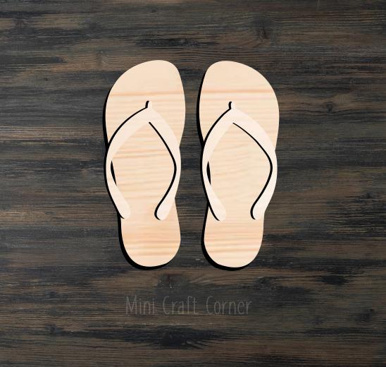 Flip Flops Wooden Cutout
