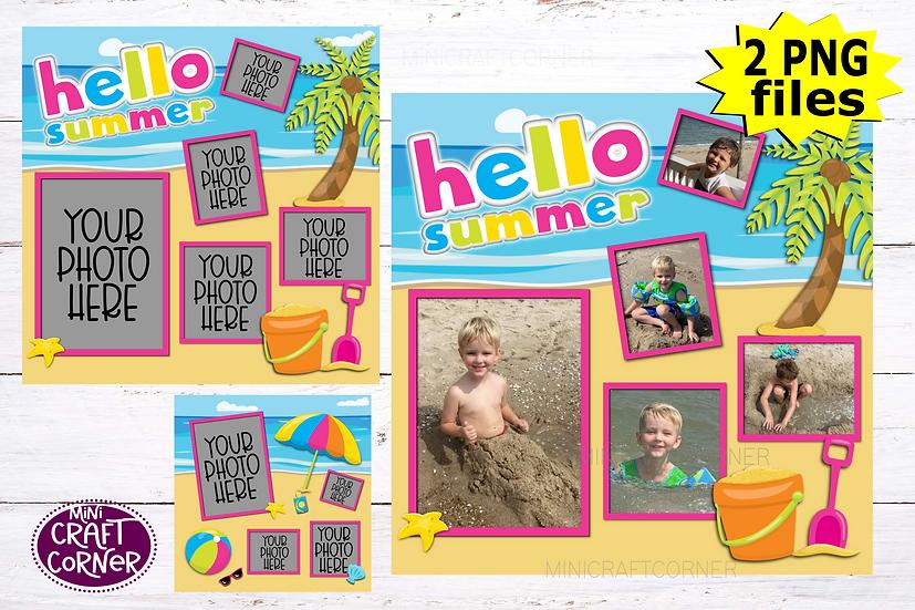 DIGITAL Summer Scrapbook Template
